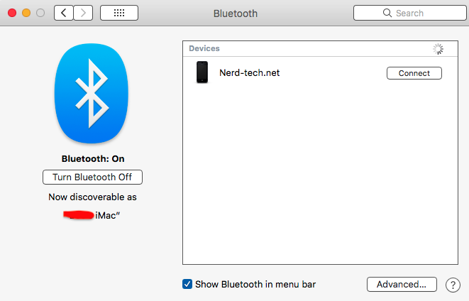 Mac OS Bluetooth: On in System Preferences Panel